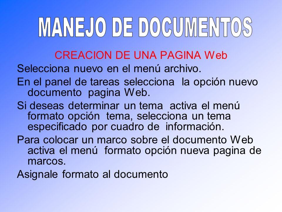 CREACION DE UNA PAGINA Web