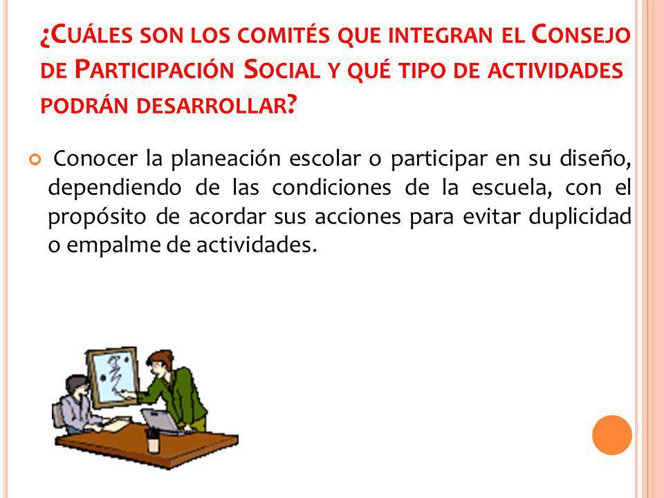 ¿Cuáles son los comités que integran el Consejo de Participación Social y qué tipo de actividades podrán desarrollar