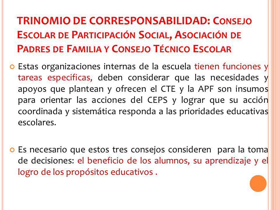 TRINOMIO DE CORRESPONSABILIDAD: Consejo Escolar de Participación Social, Asociación de Padres de Familia y Consejo Técnico Escolar