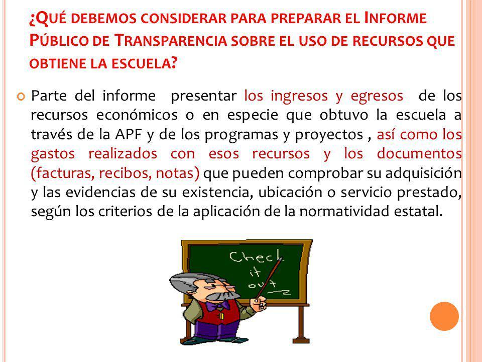 ¿Qué debemos considerar para preparar el Informe Público de Transparencia sobre el uso de recursos que obtiene la escuela