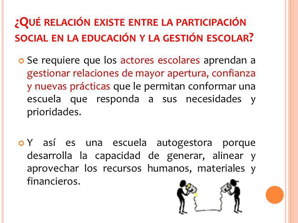 ¿Qué relación existe entre la participación social en la educación y la gestión escolar