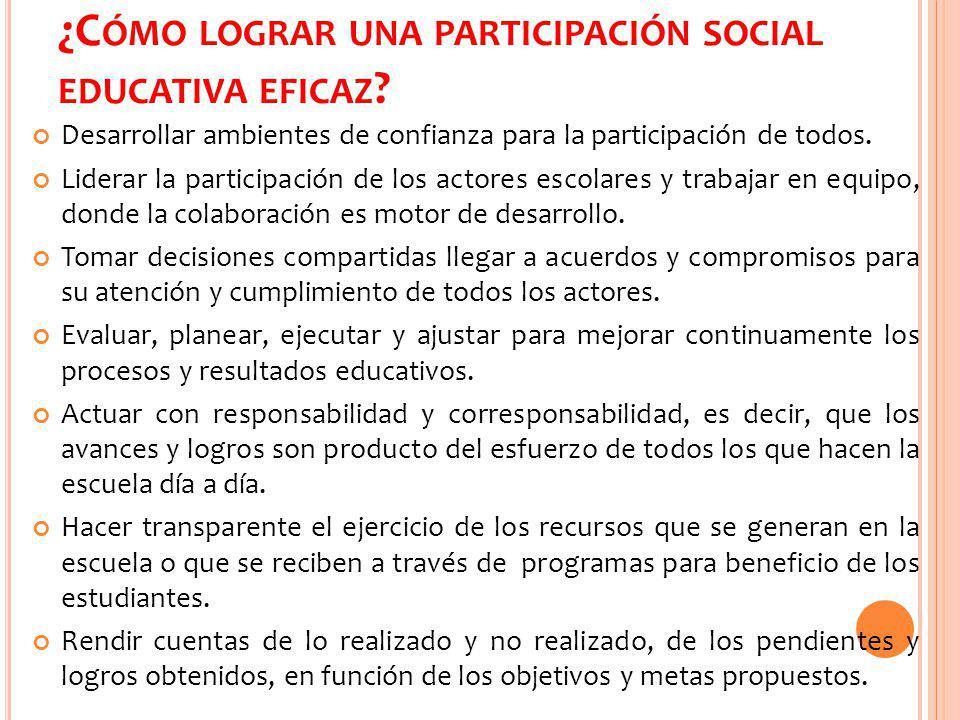 ¿Cómo lograr una participación social educativa eficaz