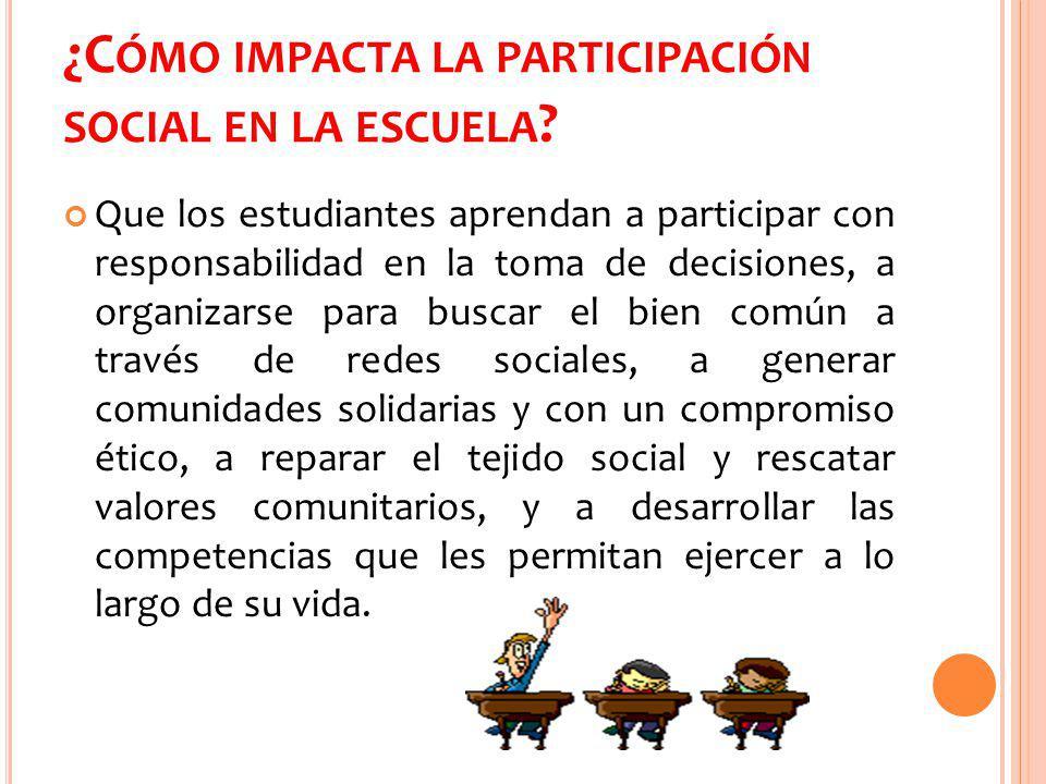 ¿Cómo impacta la participación social en la escuela