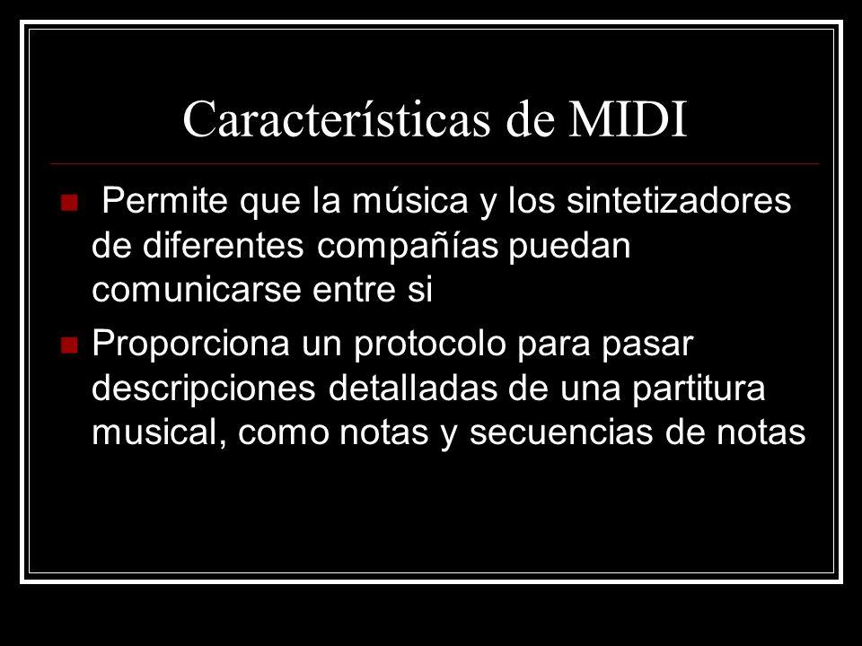 Características de MIDI