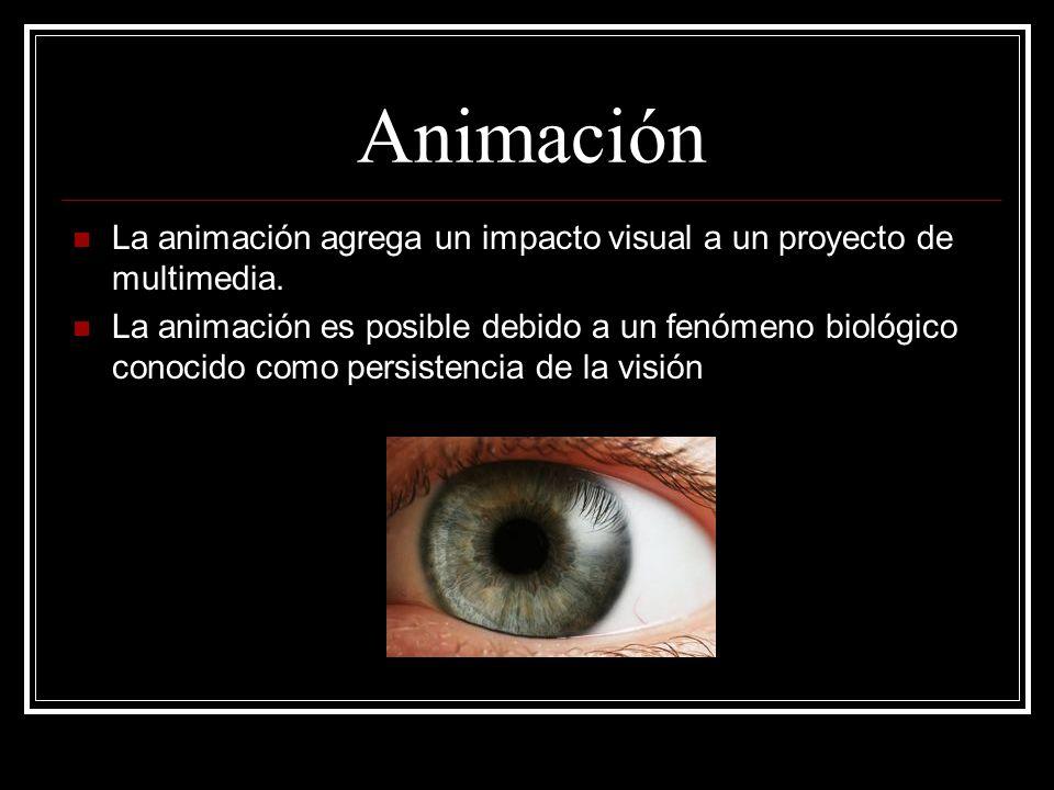Animación La animación agrega un impacto visual a un proyecto de multimedia.