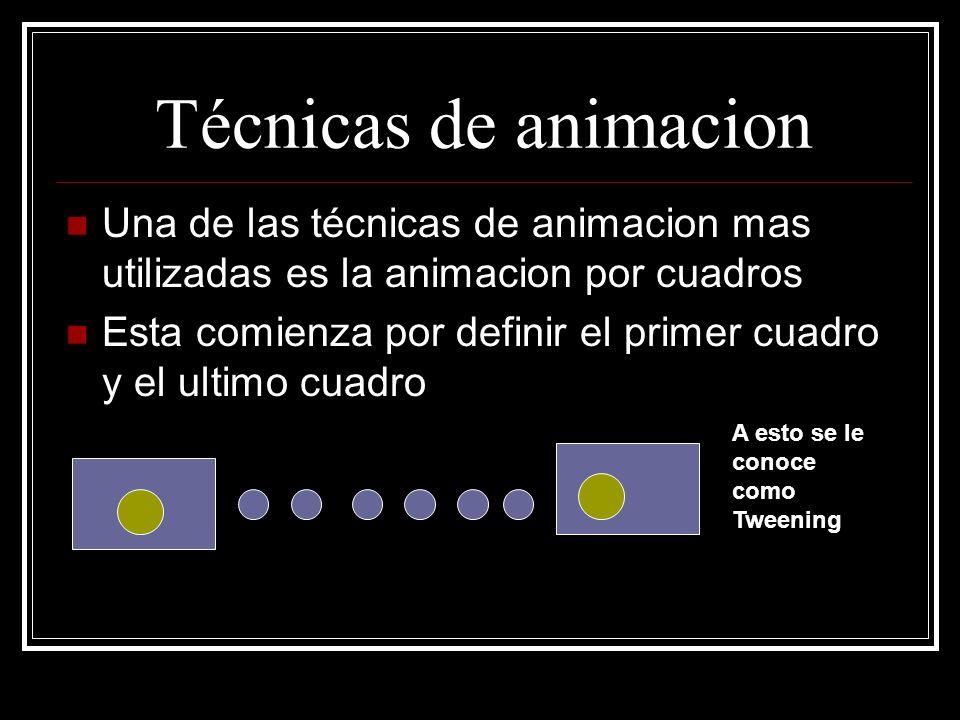 Técnicas de animacion Una de las técnicas de animacion mas utilizadas es la animacion por cuadros.