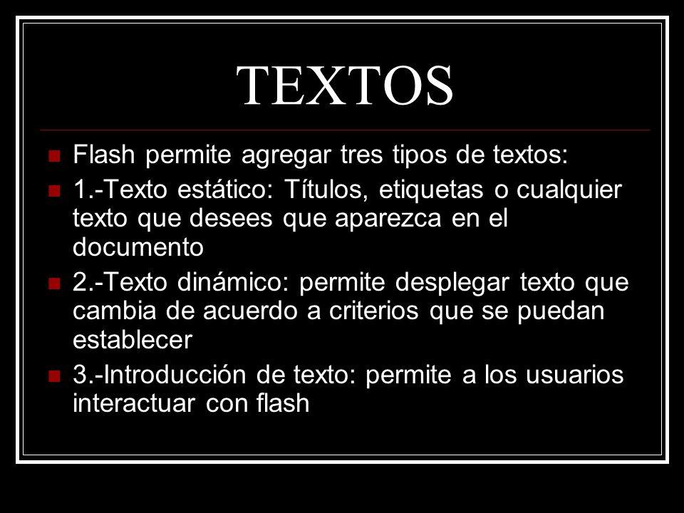 TEXTOS Flash permite agregar tres tipos de textos: