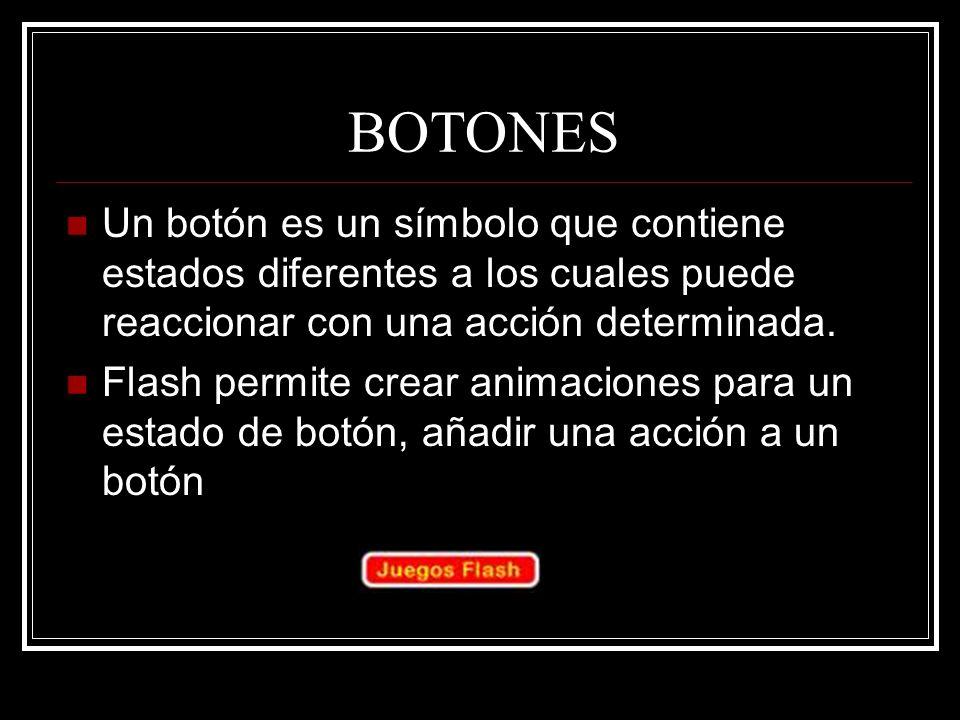 BOTONES Un botón es un símbolo que contiene estados diferentes a los cuales puede reaccionar con una acción determinada.