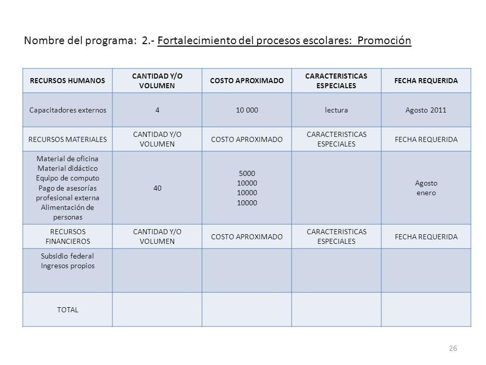 CARACTERISTICAS ESPECIALES