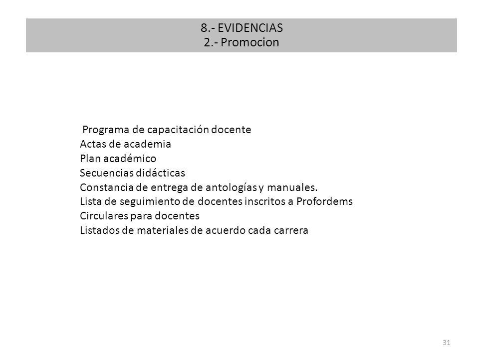 8.- EVIDENCIAS 2.- Promocion 2. Promoción