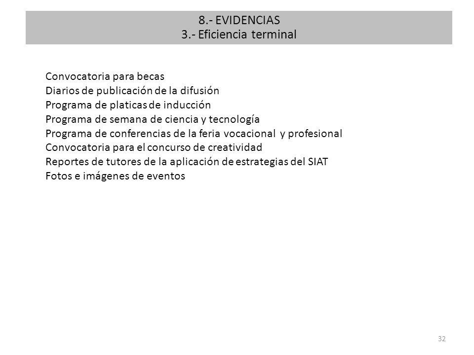 8.- EVIDENCIAS 3.- Eficiencia terminal Convocatoria para becas