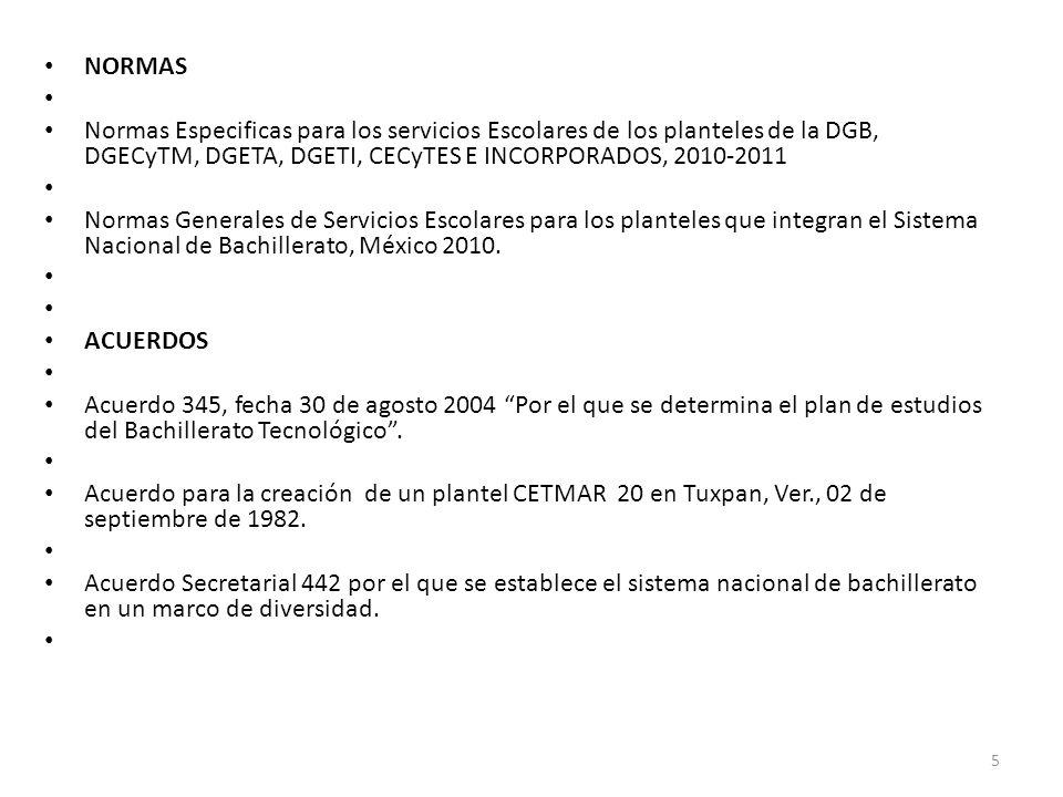 NORMAS Normas Especificas para los servicios Escolares de los planteles de la DGB, DGECyTM, DGETA, DGETI, CECyTES E INCORPORADOS, 2010-2011.