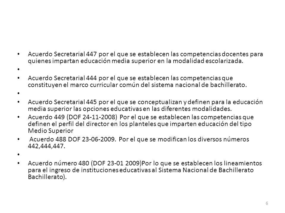Acuerdo Secretarial 447 por el que se establecen las competencias docentes para quienes impartan educación media superior en la modalidad escolarizada.