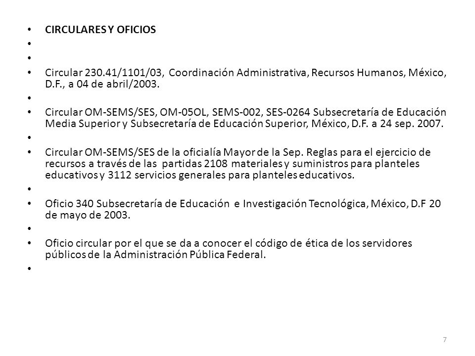 CIRCULARES Y OFICIOS Circular 230.41/1101/03, Coordinación Administrativa, Recursos Humanos, México, D.F., a 04 de abril/2003.