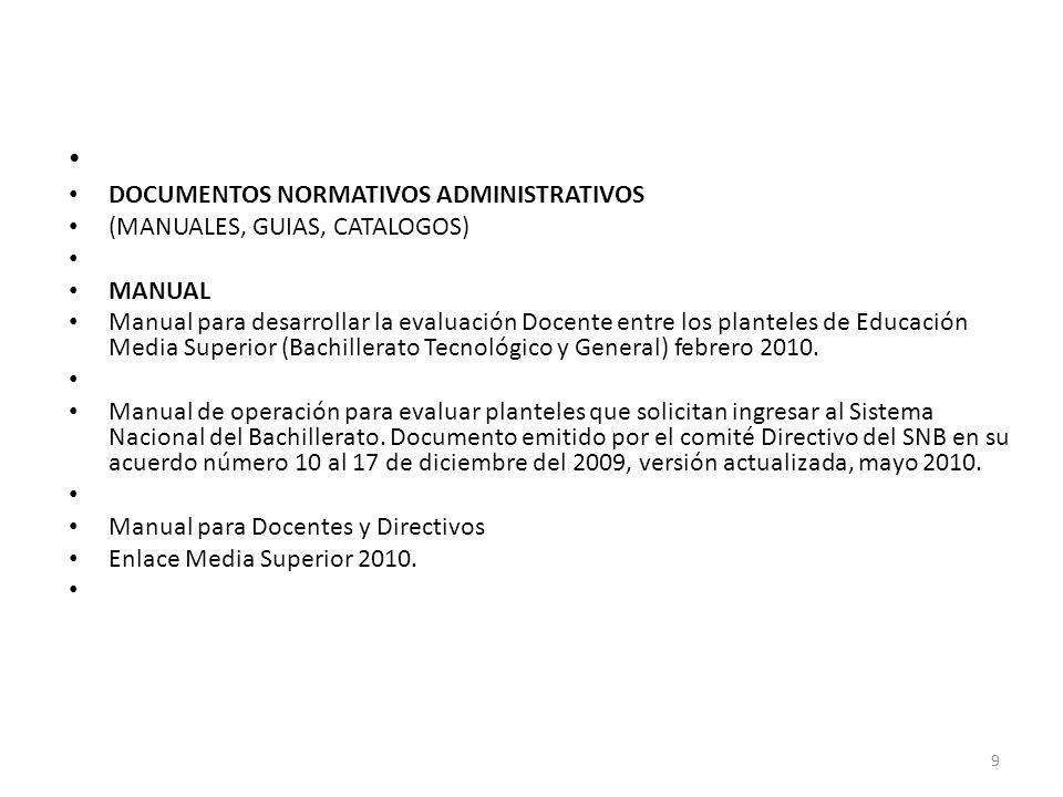 DOCUMENTOS NORMATIVOS ADMINISTRATIVOS (MANUALES, GUIAS, CATALOGOS)