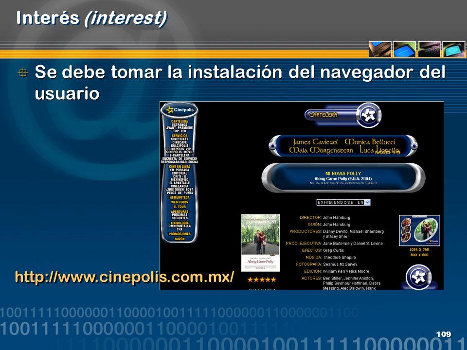 Se debe tomar la instalación del navegador del usuario
