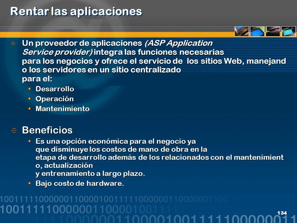 Rentar las aplicaciones