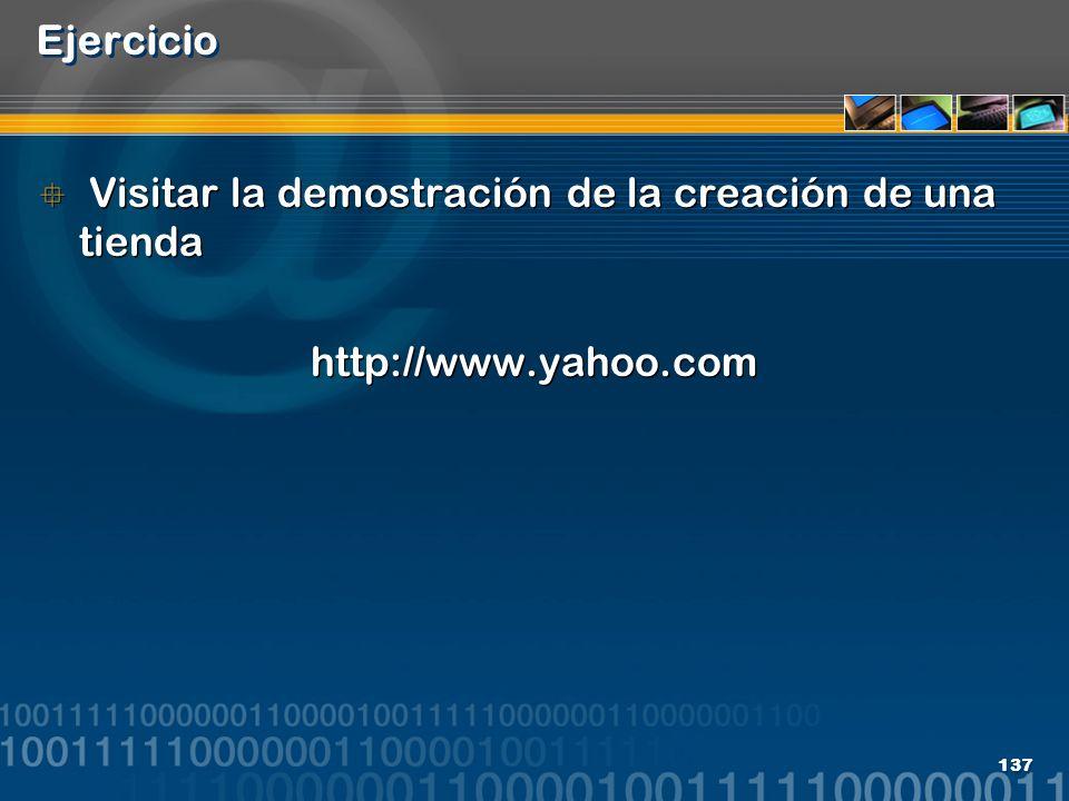 Ejercicio Visitar la demostración de la creación de una tienda http://www.yahoo.com