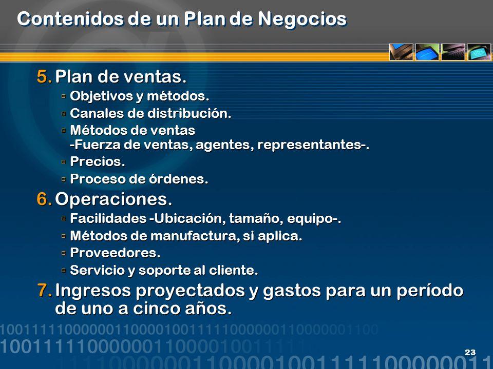 Contenidos de un Plan de Negocios