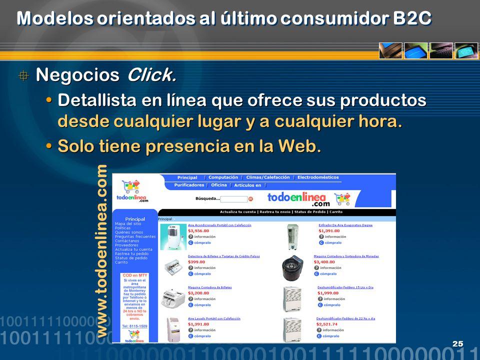 Modelos orientados al último consumidor B2C