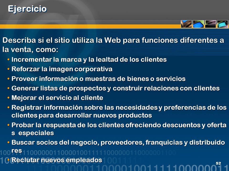 Ejercicio Describa si el sitio utiliza la Web para funciones diferentes a la venta, como: Incrementar la marca y la lealtad de los clientes.