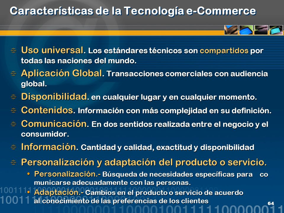Características de la Tecnología e-Commerce