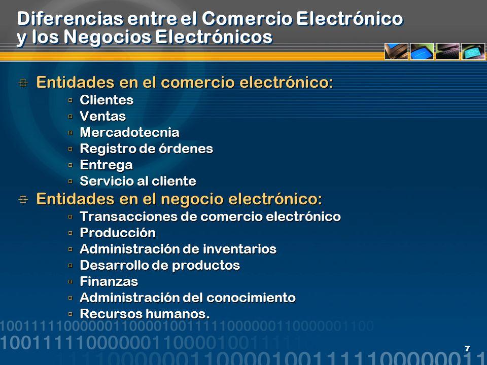 Diferencias entre el Comercio Electrónico y los Negocios Electrónicos