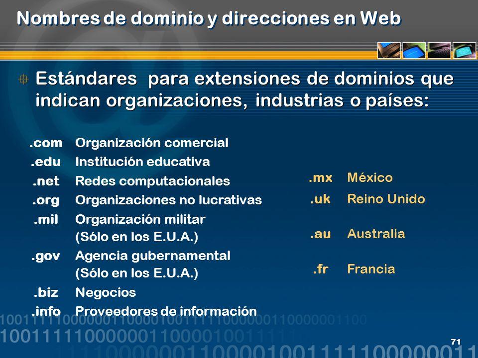 Nombres de dominio y direcciones en Web