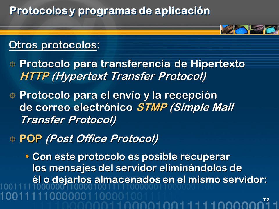 Protocolos y programas de aplicación