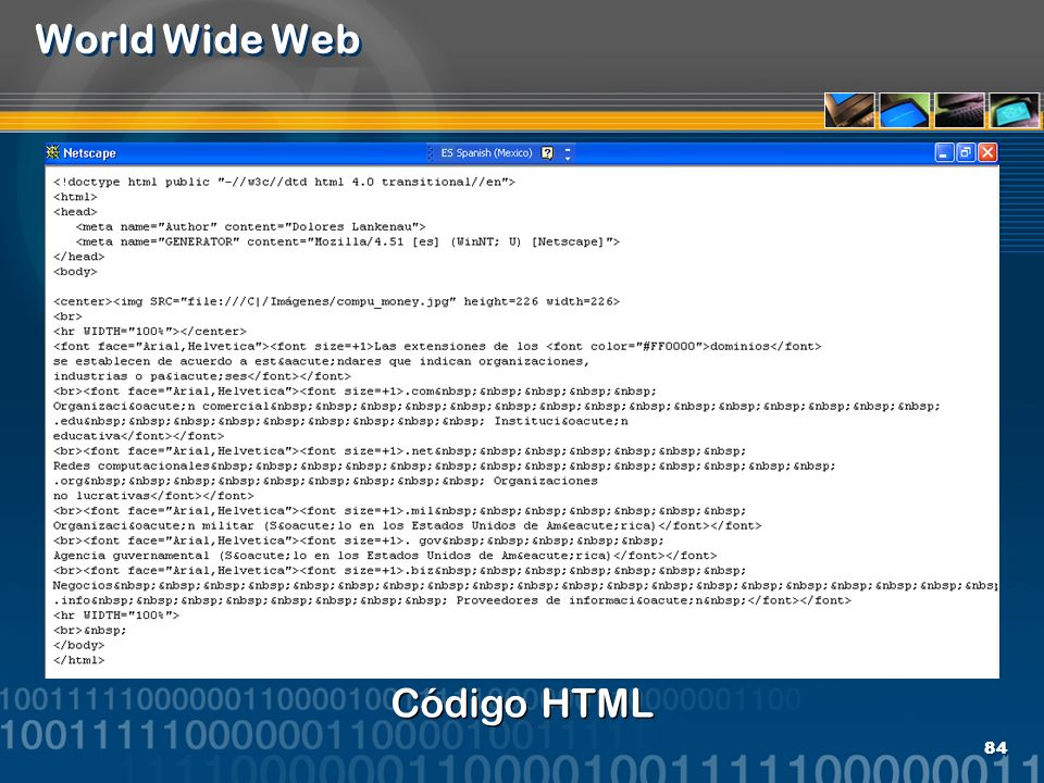 World Wide Web Código HTML