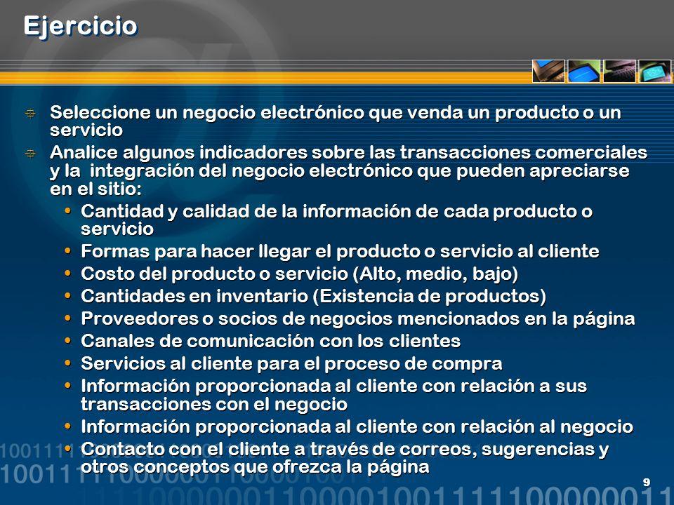 Ejercicio Seleccione un negocio electrónico que venda un producto o un servicio.