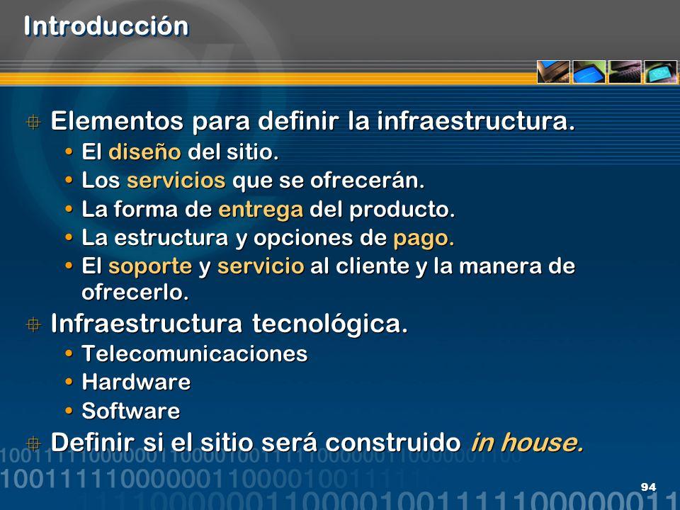 Elementos para definir la infraestructura.