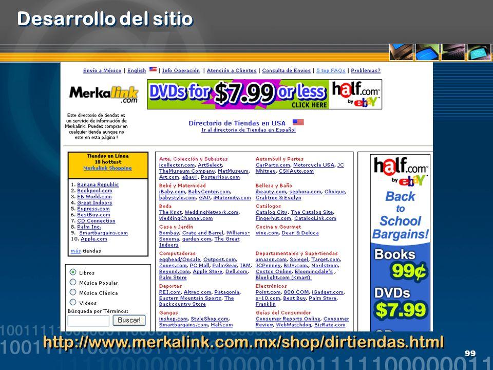 Desarrollo del sitio http://www.merkalink.com.mx/shop/dirtiendas.html