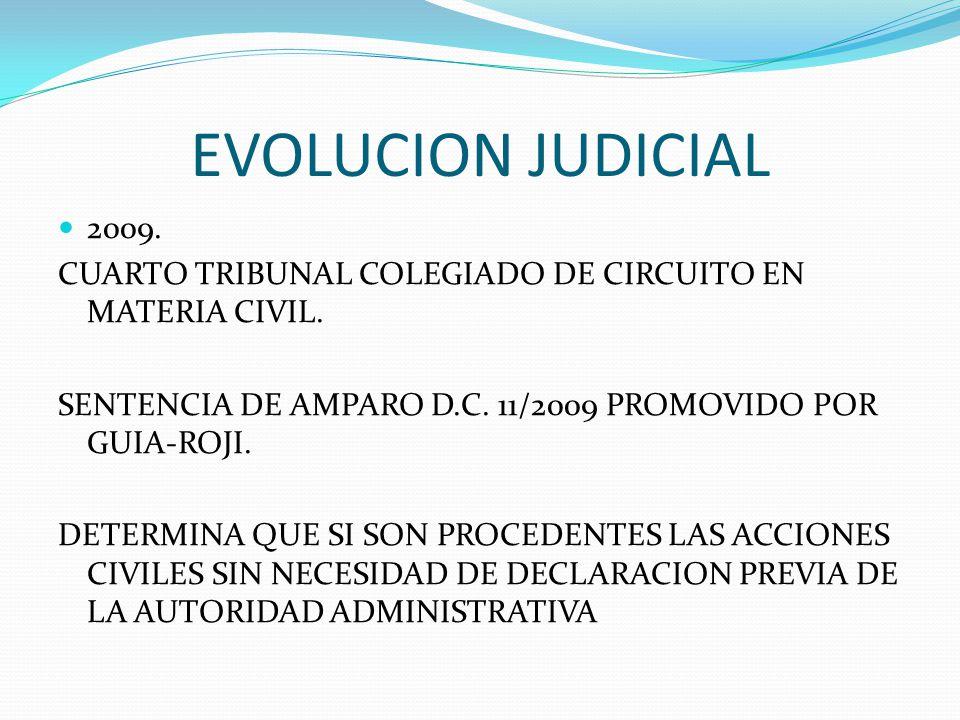 EVOLUCION JUDICIAL 2009. CUARTO TRIBUNAL COLEGIADO DE CIRCUITO EN MATERIA CIVIL. SENTENCIA DE AMPARO D.C. 11/2009 PROMOVIDO POR GUIA-ROJI.