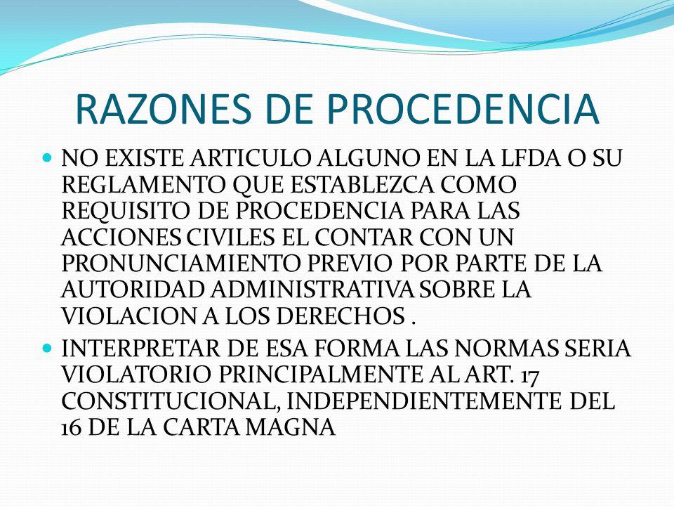 RAZONES DE PROCEDENCIA