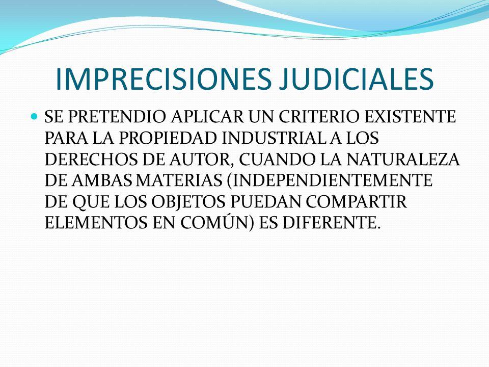 IMPRECISIONES JUDICIALES