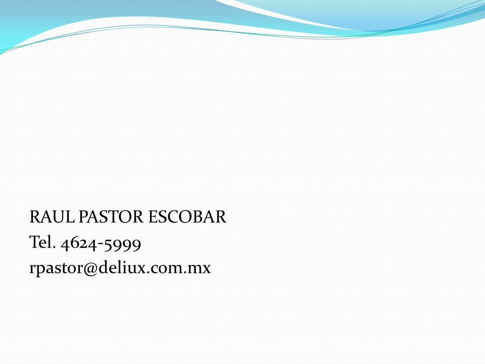 RAUL PASTOR ESCOBAR Tel. 4624-5999 rpastor@deliux.com.mx