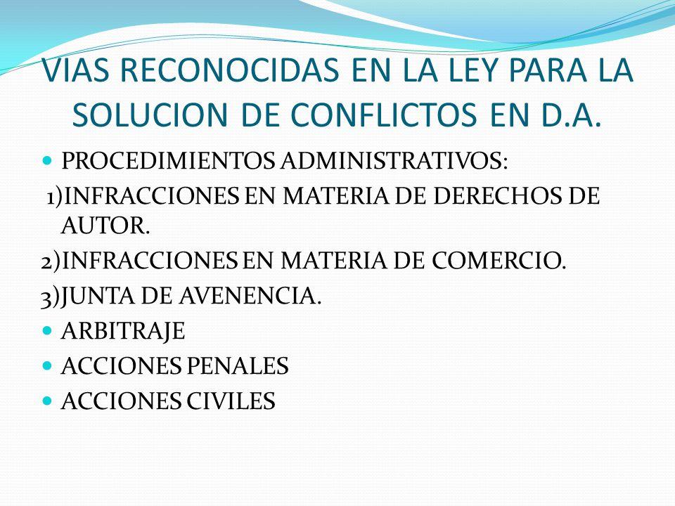 VIAS RECONOCIDAS EN LA LEY PARA LA SOLUCION DE CONFLICTOS EN D.A.