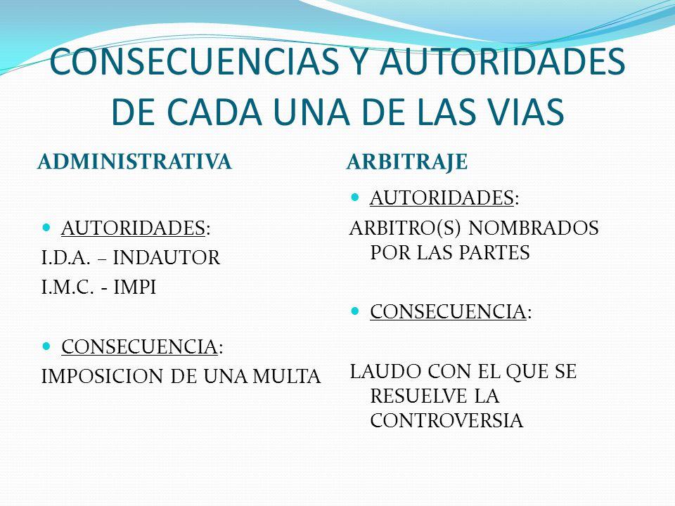 CONSECUENCIAS Y AUTORIDADES DE CADA UNA DE LAS VIAS