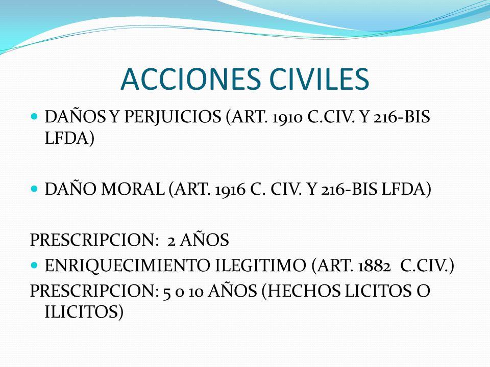 ACCIONES CIVILES DAÑOS Y PERJUICIOS (ART. 1910 C.CIV. Y 216-BIS LFDA)