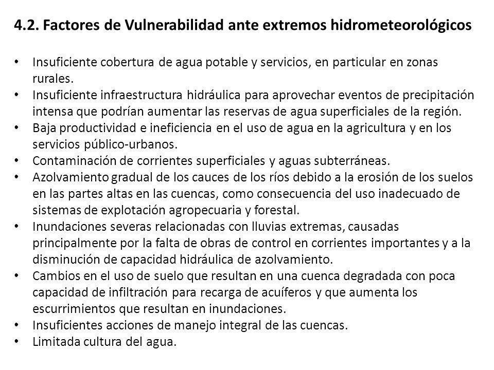 4.2. Factores de Vulnerabilidad ante extremos hidrometeorológicos