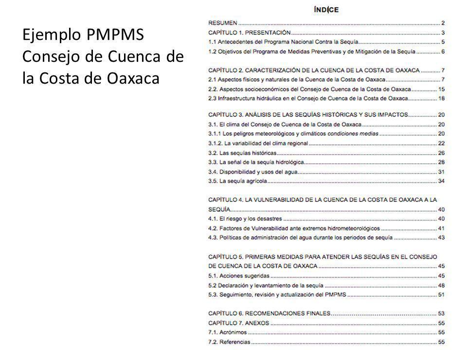 Ejemplo PMPMS Consejo de Cuenca de la Costa de Oaxaca