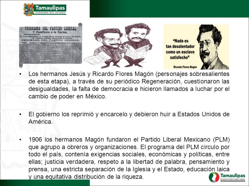 Los hermanos Jesús y Ricardo Flores Magón (personajes sobresalientes de esta etapa), a través de su periódico Regeneración, cuestionaron las desigualdades, la falta de democracia e hicieron llamados a luchar por el cambio de poder en México.