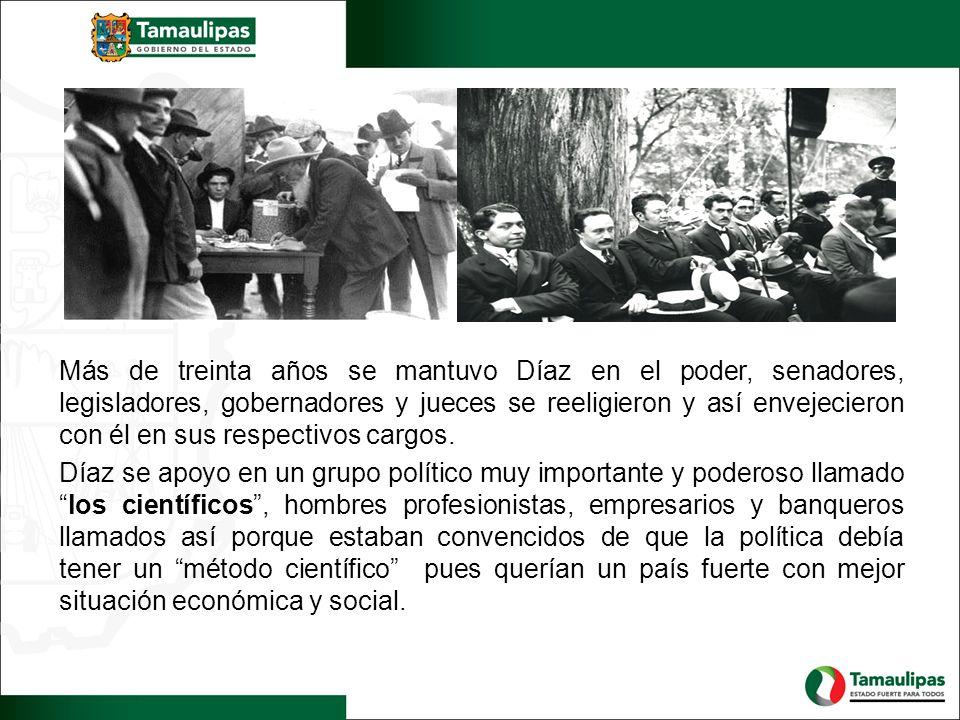 Más de treinta años se mantuvo Díaz en el poder, senadores, legisladores, gobernadores y jueces se reeligieron y así envejecieron con él en sus respectivos cargos.