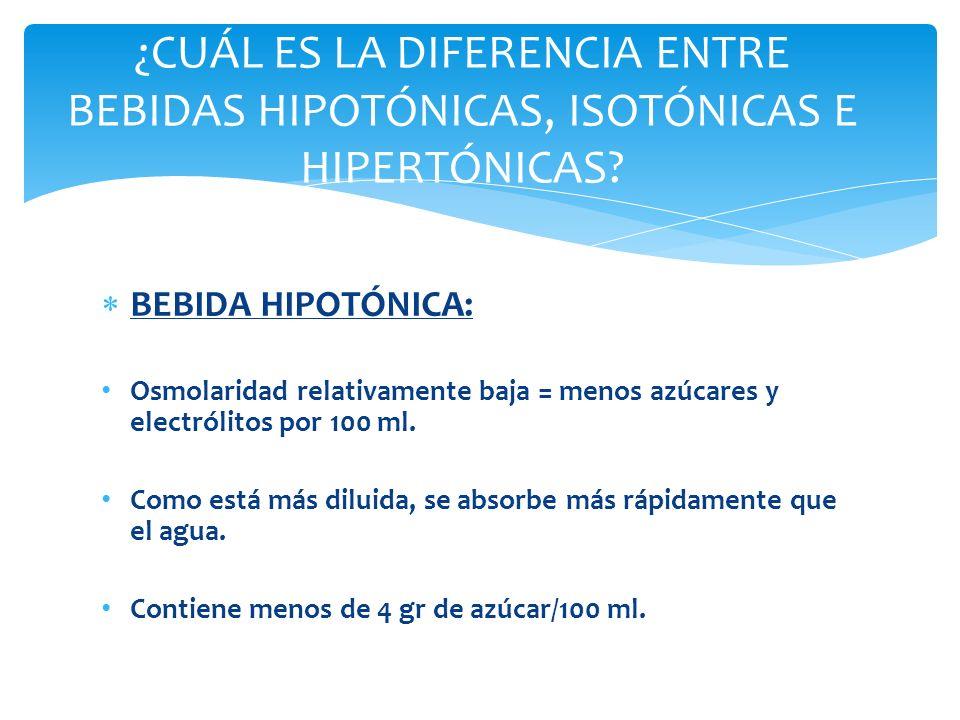 ¿CUÁL ES LA DIFERENCIA ENTRE BEBIDAS HIPOTÓNICAS, ISOTÓNICAS E HIPERTÓNICAS