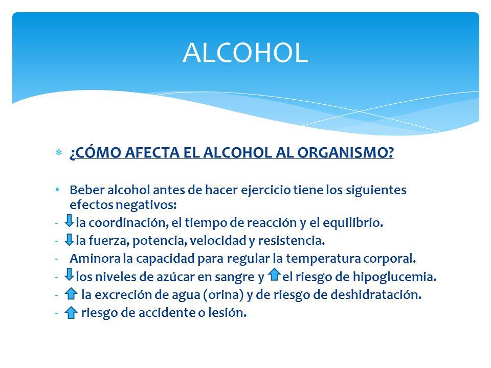 ALCOHOL ¿CÓMO AFECTA EL ALCOHOL AL ORGANISMO