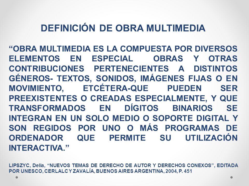 DEFINICIÓN DE OBRA MULTIMEDIA