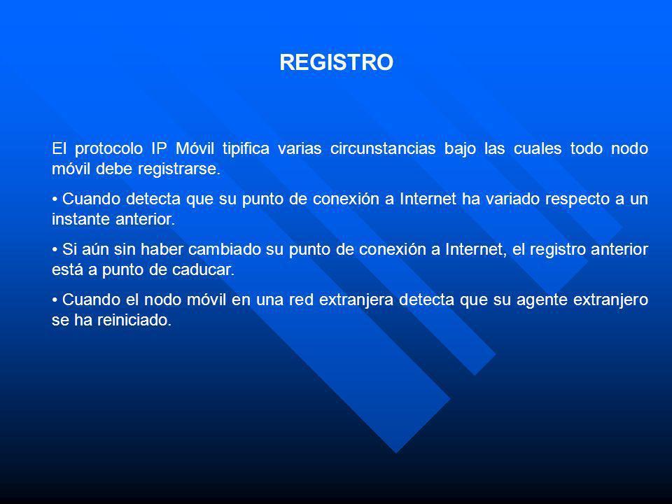 REGISTRO El protocolo IP Móvil tipifica varias circunstancias bajo las cuales todo nodo móvil debe registrarse.