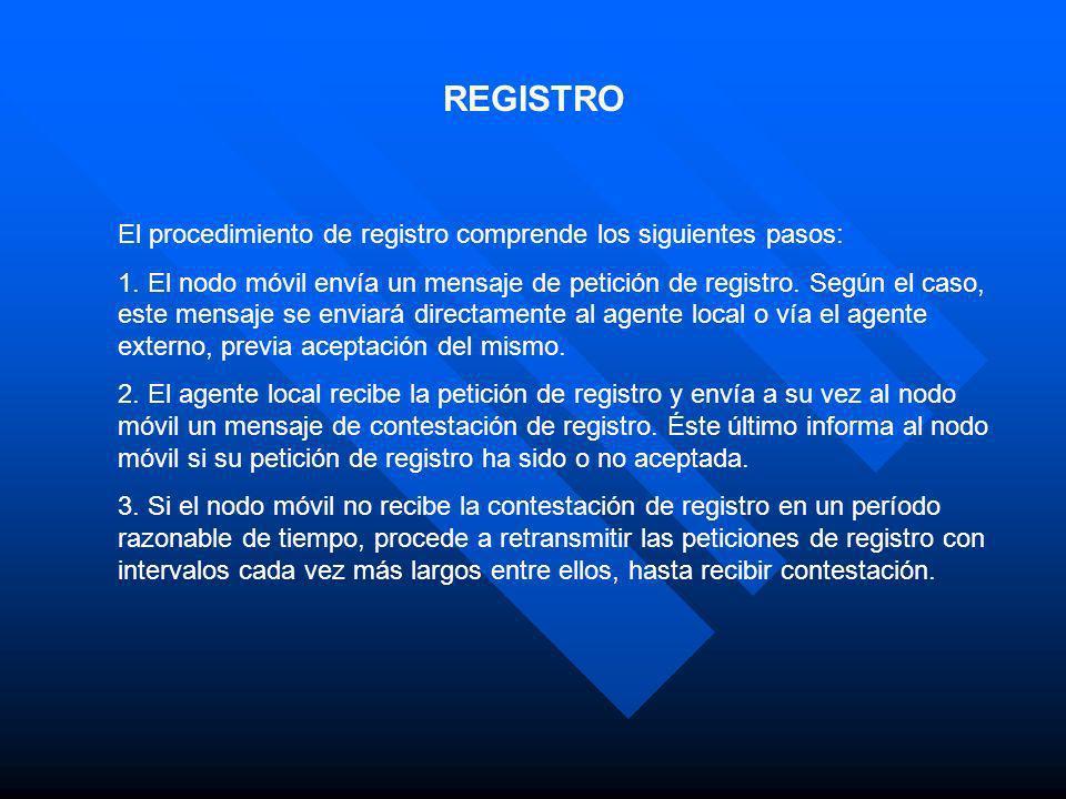 REGISTRO El procedimiento de registro comprende los siguientes pasos: