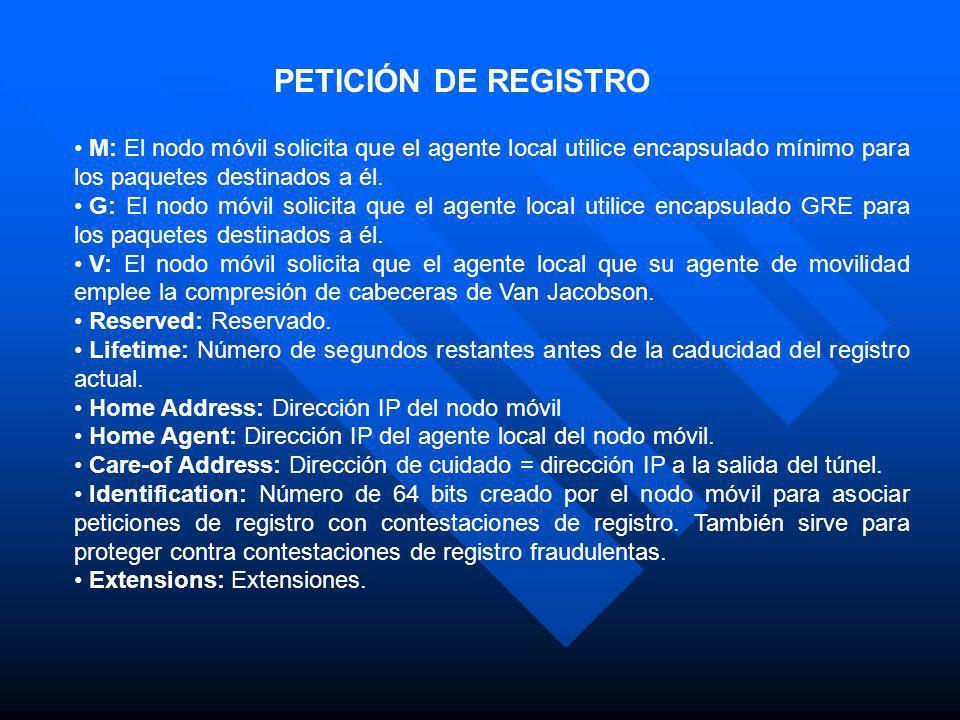 PETICIÓN DE REGISTRO M: El nodo móvil solicita que el agente local utilice encapsulado mínimo para los paquetes destinados a él.